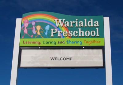 Warialda Preschool changeable sign