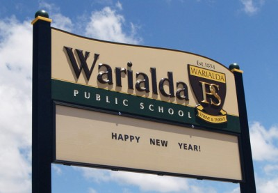 Warialda Public School entry signs