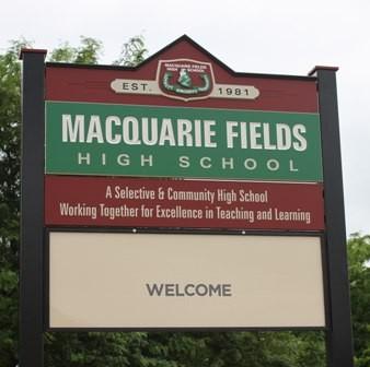 Macquarie Fields High School sign