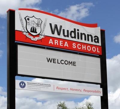 Wudinna Area School message board sign