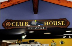 welcome sign for the Club House Club Sign system