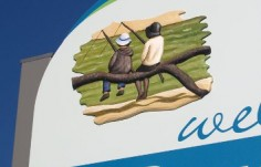 detail of the sculpture on the Boggabilla town entry sign