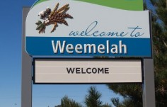 Moree Local Government Weemelah town entry sign
