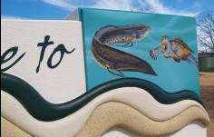 Detail on Kandanga Entry Sign