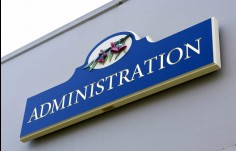 Kirkbrae administration directional sign