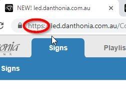 Secure web address of online LED sign site